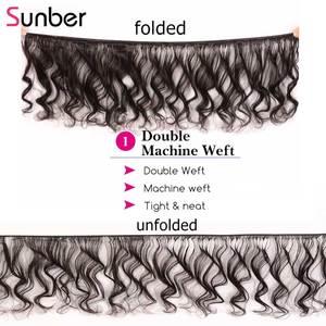 Image 2 - Sunber Hair Peruvian Loose Wave Hair Bundles With Closure Remy Human Hair Weaves 16 26 inch 3 /4 Bundles With Closure