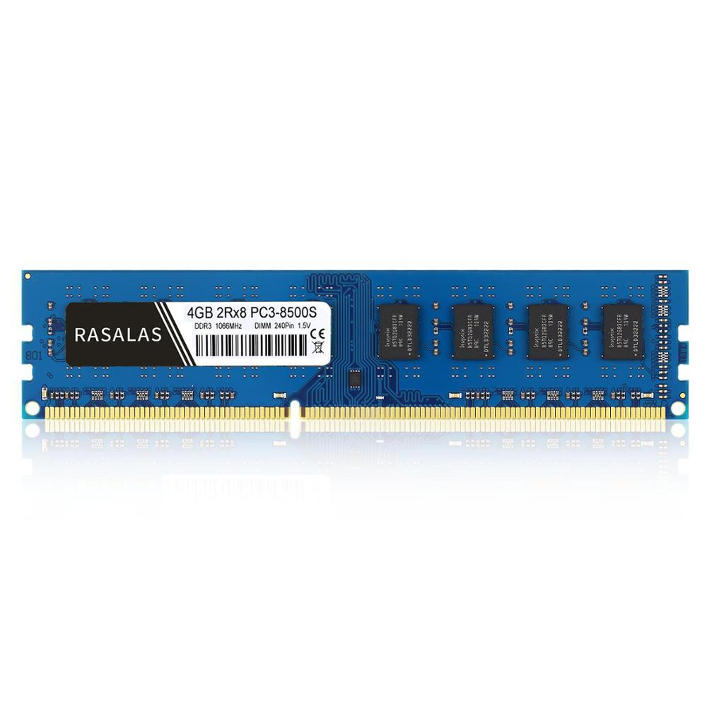 Rasalas 4GB 2Rx8 PC3-8500U <font><b>DDR3</b></font> <font><b>1066Mhz</b></font> 1,5 V 240Pin No-ecc DIMM Desktop PC RAM Memory Blue image