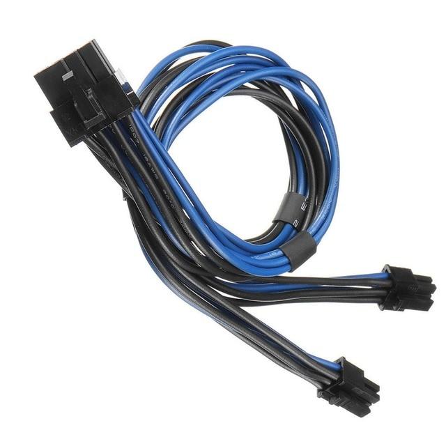Wysokiej jakości 18AWG podwójny Mini 6 Pin męski na 8 Pin PCI-e Y kabel rozdzielacz zasilania dla Mac Pro