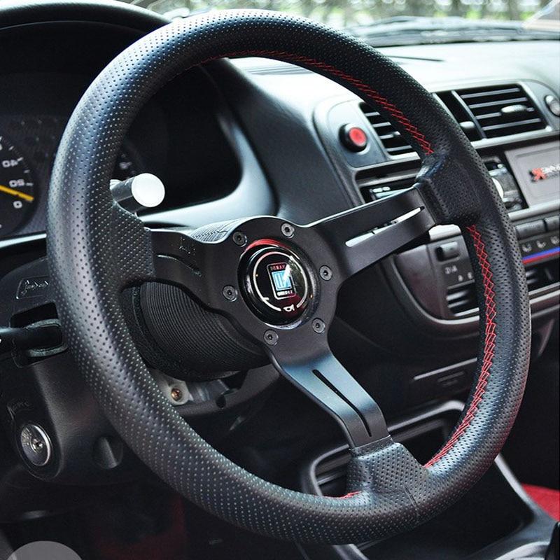 Универсальный 13 дюймов ND кожа авто гоночный руль s глубокая Кукуруза дрейфующий спортивный руль гоночный руль