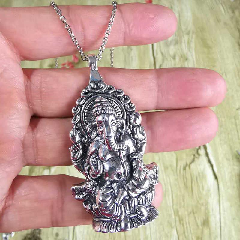 Big Ganesha wisiorek kolor srebrny amulety indie naszyjniki długi krzyż łańcuch hinduizm budda mężczyzna kobiet modna biżuteria na prezent