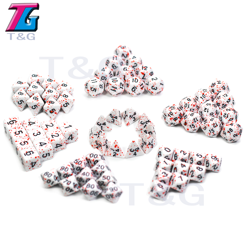 T&G 10Pcs/Set Polyhedral D4-D20 Multi Sides Dice DND Games For Opaque Digital Dice For Funny Party Board Game