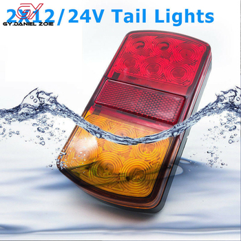цена на 2X 12V/24V Truck Trailer Boat LED Stop Indicator Submersible Rear Tail Brake Light Waterproof Lorry Fog Signal Caution Lamp