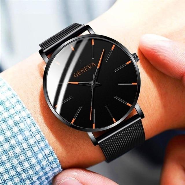 Ultra-Thin Business Men Quartz Stainless Steel Band Wrist Watch 3
