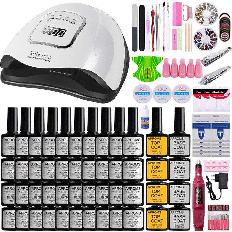 Manicure Set Nail Kit Nail Gel Polish Kit Nail Set Electric Nail Drill Kit UV LED Nail Lamp Dryer Manicure Pedicure Practice Set