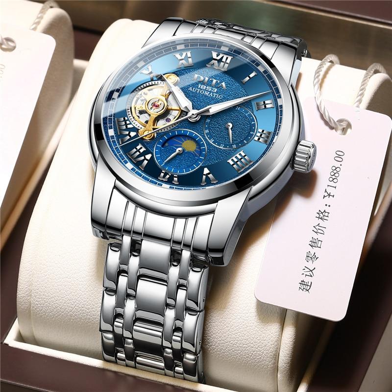 الأزرق الكلاسيكية الذكور تحلق توربيون ووتش الفولاذ سوار فولاذي الذهبي المعصم الرجال الساعات-في الساعات الميكانيكية من ساعات اليد على  مجموعة 1