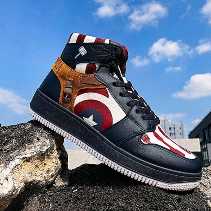 Cute Superhero Captain America Sneakers Canvas Shoes Men Women Teenagers Causal Students Sneakers Sport Shoes