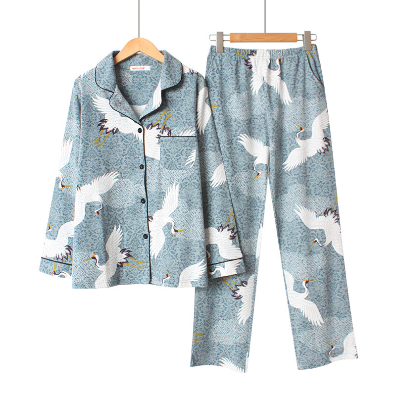 Women Cotton Pyjama Set Long Sleeve Crane Printing Pajama Set Sweet Loose Spring Two-piece Pijama Mujer Loungewear Home Clothes