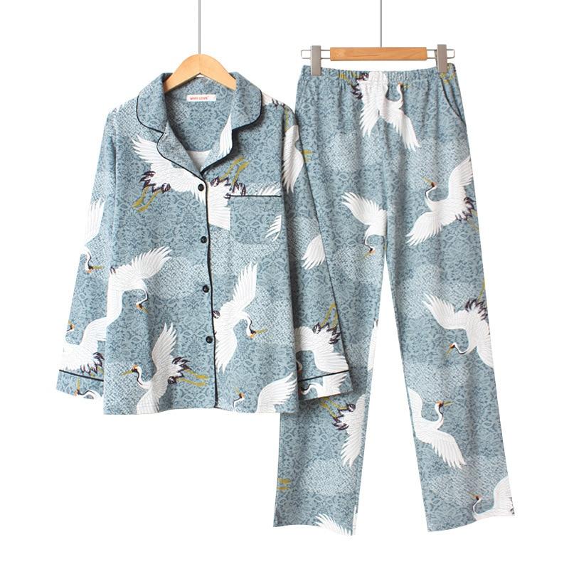 Women Cotton Pyjama Set Long Sleeve Crane Printing Pajama Set Sweet Loose Spring Two-piece Pijama Mujer Loungewear Home Clothes
