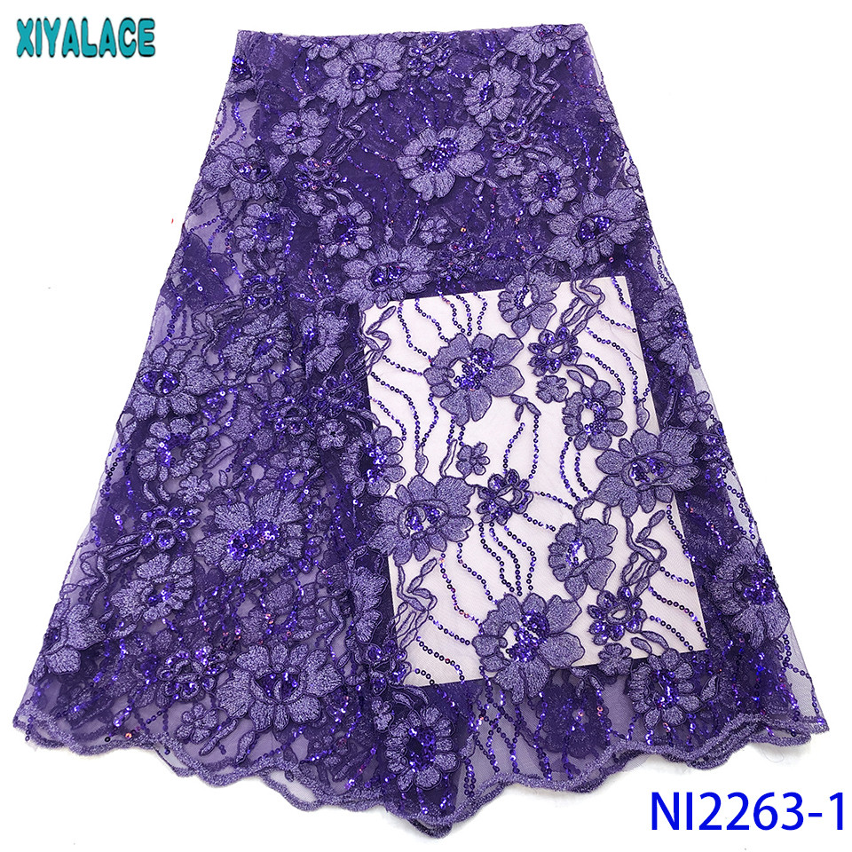 2019 Lace Materials For African Sequence Dress,Latest Aso Ebi Lace,African Sequin Lace Fabric 2019 High Quality Lace KSNI2263-1