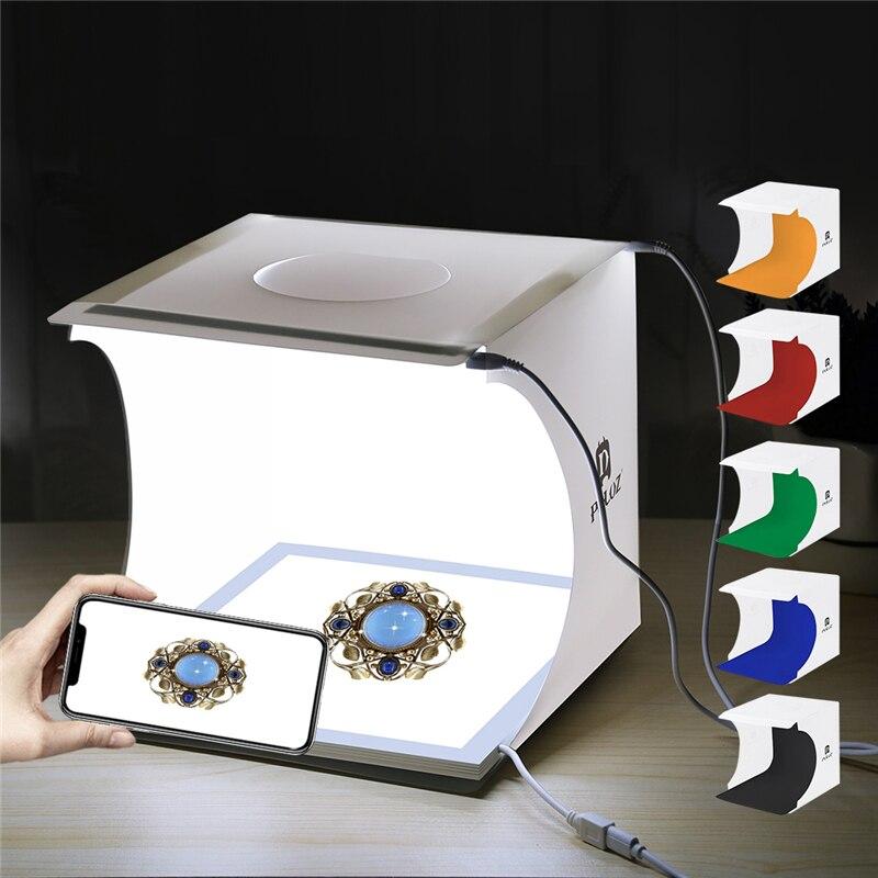 Tüketici Elektroniği'ten Masa Üstü Çekim'de Mini Fotoğraf Stüdyosu led ışık Gölgesiz Arka Plan Fotoğraf ışık kutusu Fotoğraf Odası 20cm Ateş Çadır Küçük Ürünler title=