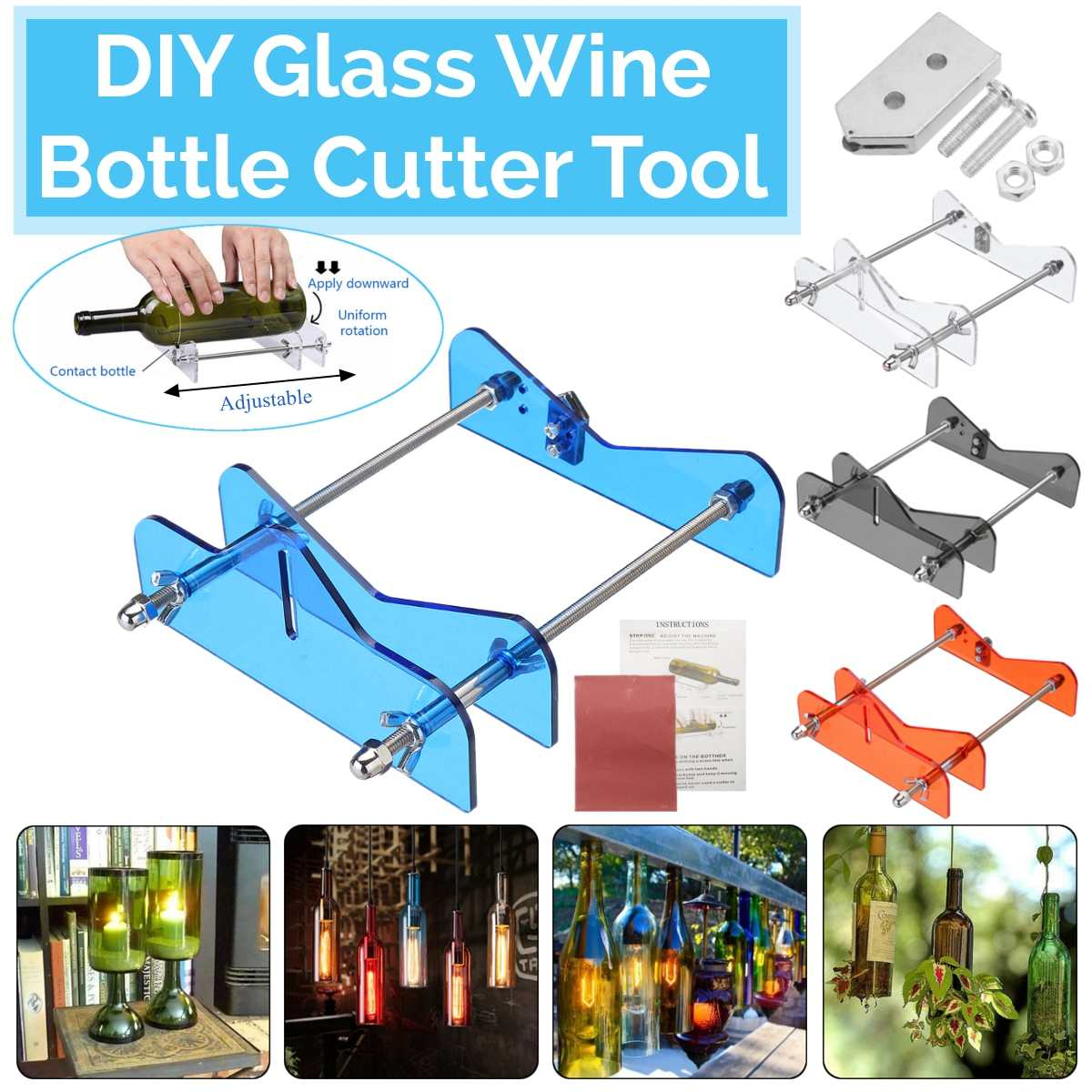 4 Color Glass Bottle Cutter Tool DIY Glass Wine Bottle Cutter Cutting Machine Kit & Replacement Kit Craft Party Recycle Tool