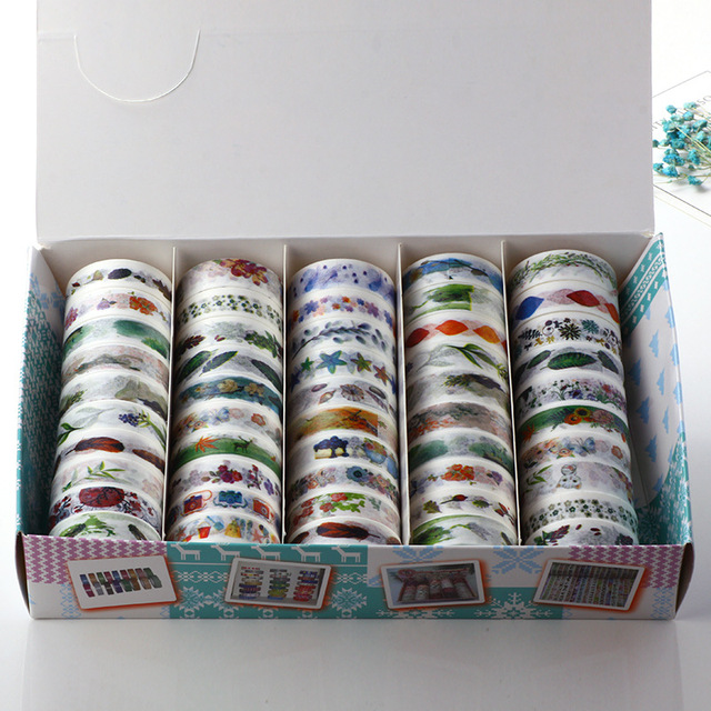 50 Pcs/Box Washi Tape Decoration Scrapbooking Planner Masking Tape Lot Adhesive Tape Label Sticker Stationery DIY Gift