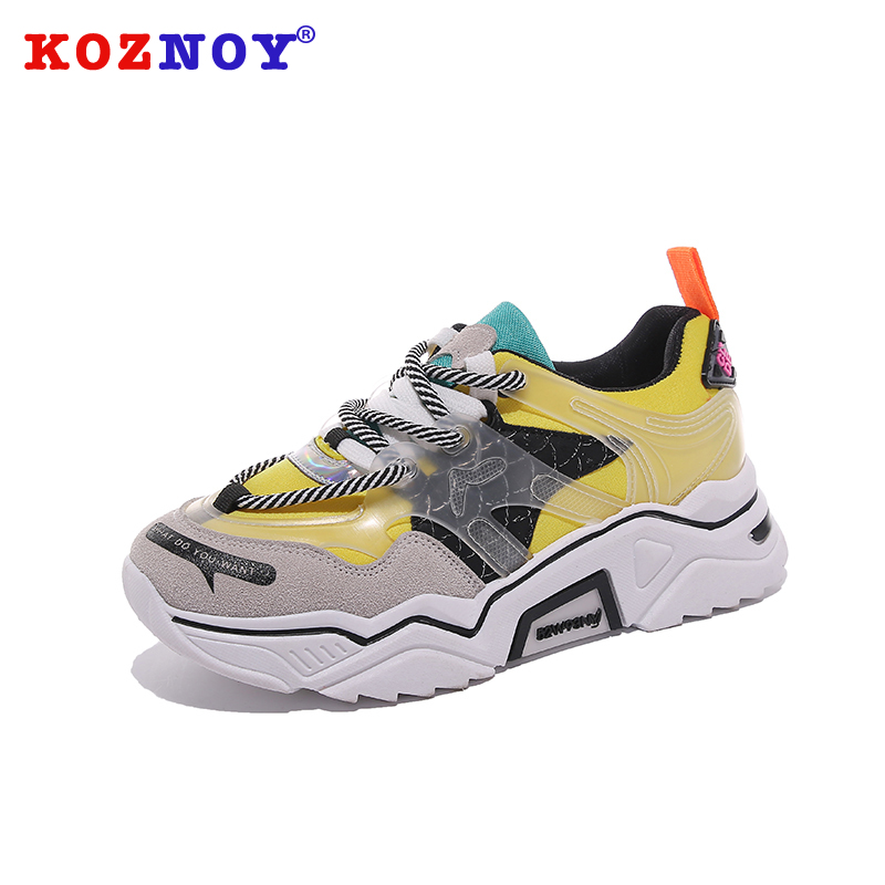 Koznoy Sneakers Women Spring 2019 New Dropshipping Leisure Mixed Colors Cross Tied Thick Bottom Fashion Breathable Women Shoes in Women 39 s Flats from Shoes