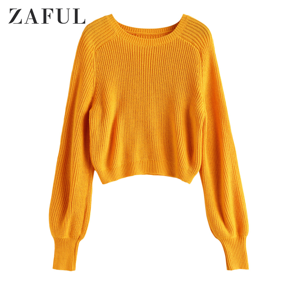 ZAFUL Crew Neck Raglan Sleeve Pullover Sweater Small Round Neck Elastic Solid Short Style Pullover Long Sleeve Warm Women Weater