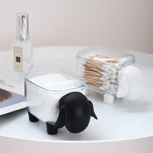 Cute Sheep Creative Mini Plastic Cotton Swab Storage Box Household Dust-proof Desktop Organizer Cosmetic Cotton Storage Box 1Pc(China)
