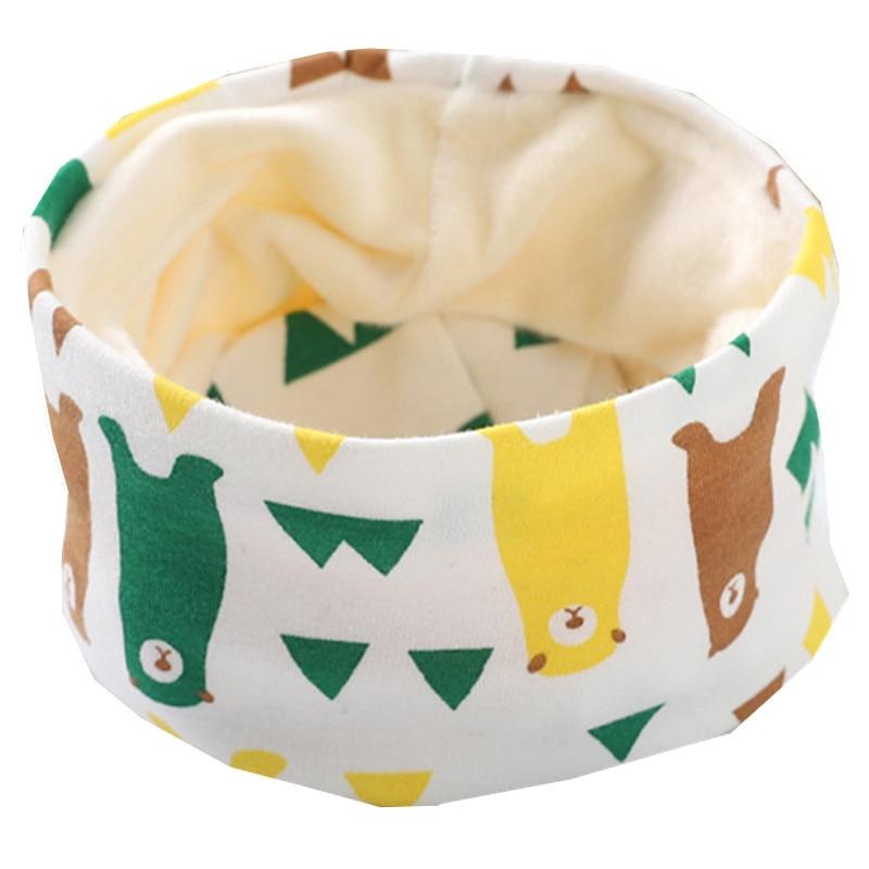 Осенне-зимний детский хлопковый плюшевый шарф, детский шарф для девочек, шарфы для мальчиков и девочек, детский воротник, детский волшебный шейный платок с круглым вырезом - Цвет: plush green bear