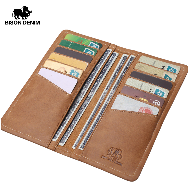 BISON DENIM Genuine Leather Men Wallet Vintage Brown Long Clutch Large Capacity 12 Card Holder Wallet Slim Male Purse N4386