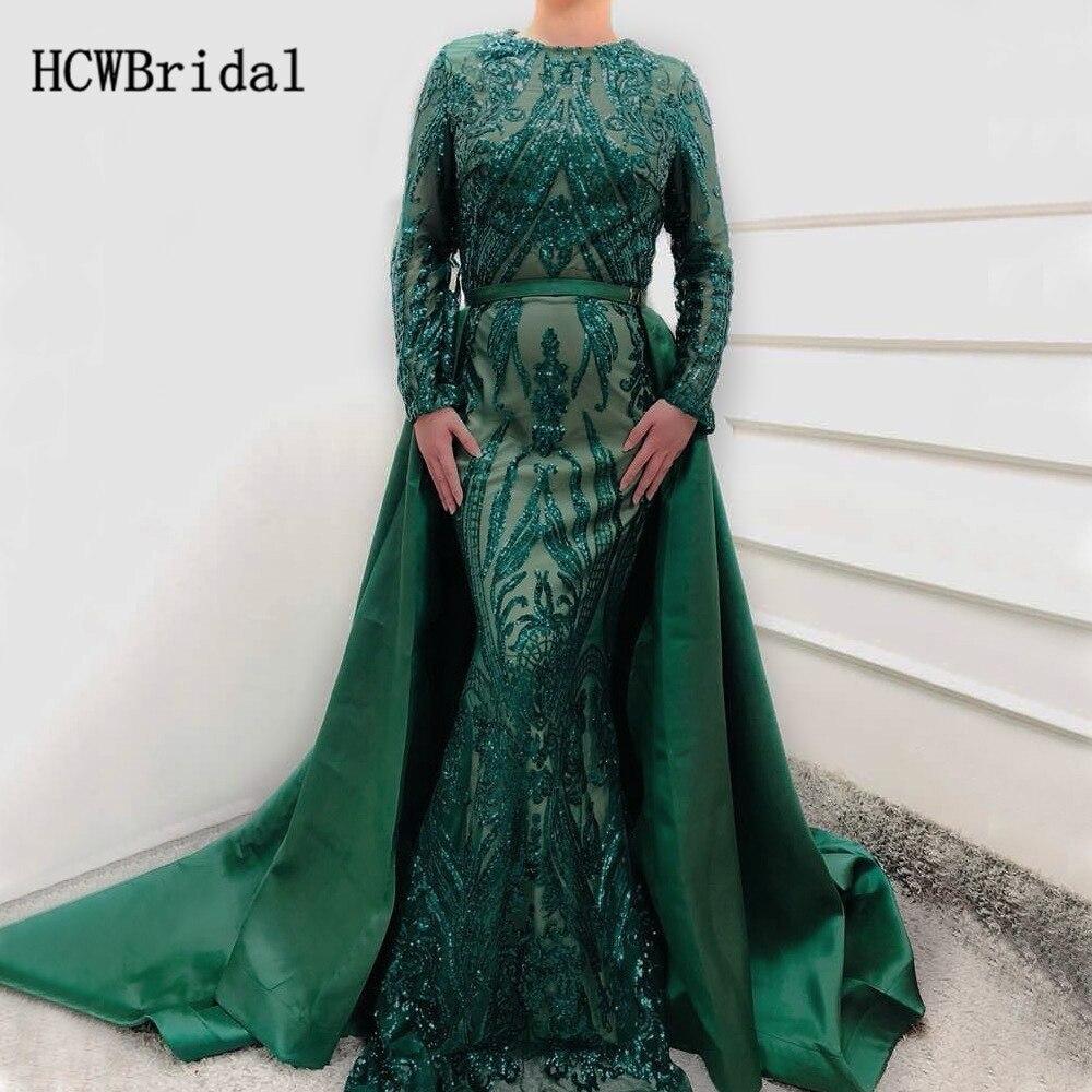 Exquise paillettes vertes sirène à manches longues robe de soirée avec Train détachable 2019 Long Train arabe robes de bal sur mesure