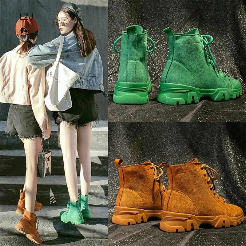 LZJ 2019 sonbahar kış ayak bileği çizmeler kadın ayakkabıları sıcak peluş ayakkabı kadın kar botları kadın yarım çizmeler rahat kadın Martin çizmeler