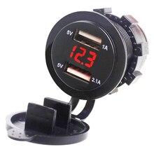 EAFC 5V 3.1A Dual USB Socket Car Charger Adapter with LED Digital Voltmeter For Phone Pad Tablet Boat Motorcycle 12-24V