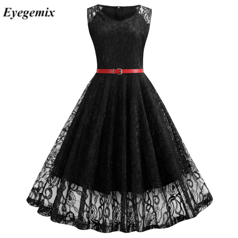 Vintage Black Floral Lace Tunic Dress Women Sleeveless V-Neck Elegant Party Sexy Dresses Retro 50s Summer Robe Big Swing Dress 1