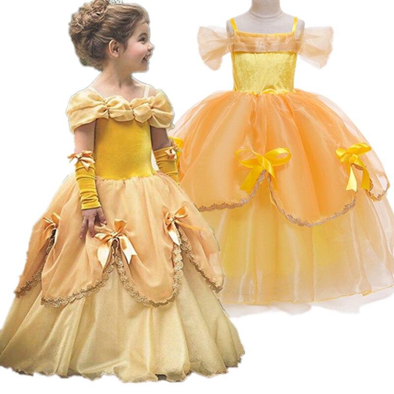 Kids Girls Princess Belle Elsa Anna Aurora Fancy Dress Cos Costume Tulle Dresses