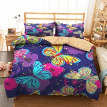 Bedding Sets Soft Material Bed Comforter 3d Butterfly Printed Duvet Cover Set Home Textiles with Pillowcases Color Bed Linen