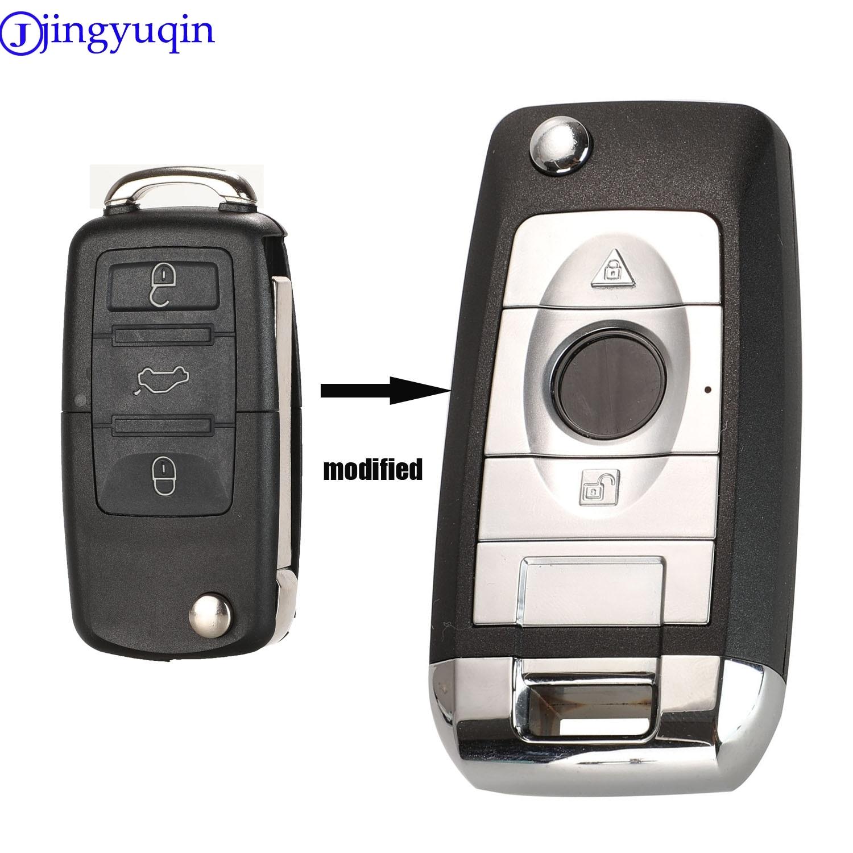 Jingyuqin Modified 3B Car Flip Key Shell Case Fob For VW Passat Polo Golf Touran Bora Ibiza Leon Octavia Fabia