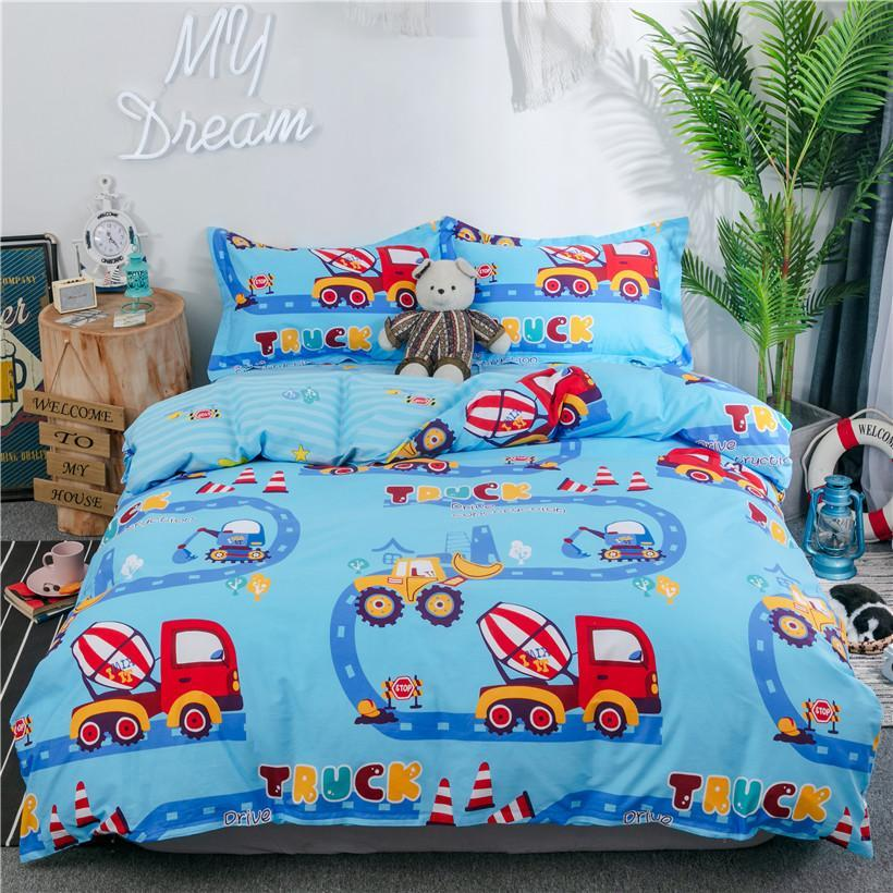 Trucks Tractors Cars Airplane printed Boys Blue Duvet cover Bed Sheet Set Pillowcase 100%Cotton Twin Queen size Bedding set