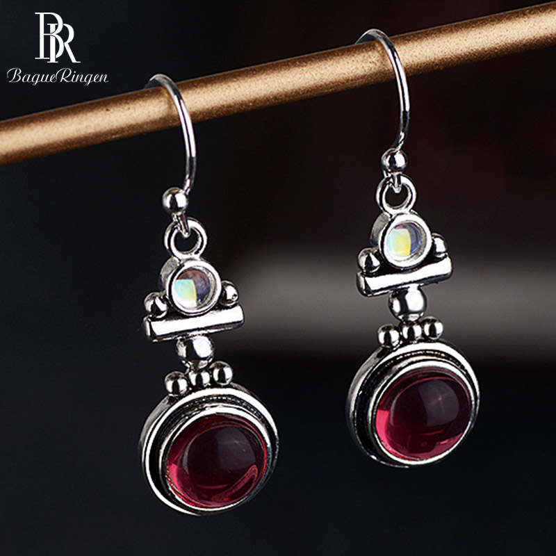 Bague Ringen Thai Silver 925 Drop Earrings Jewelry With Red Round Moonstone Gemstone Vintage Earrings For Party Anniversary Gift