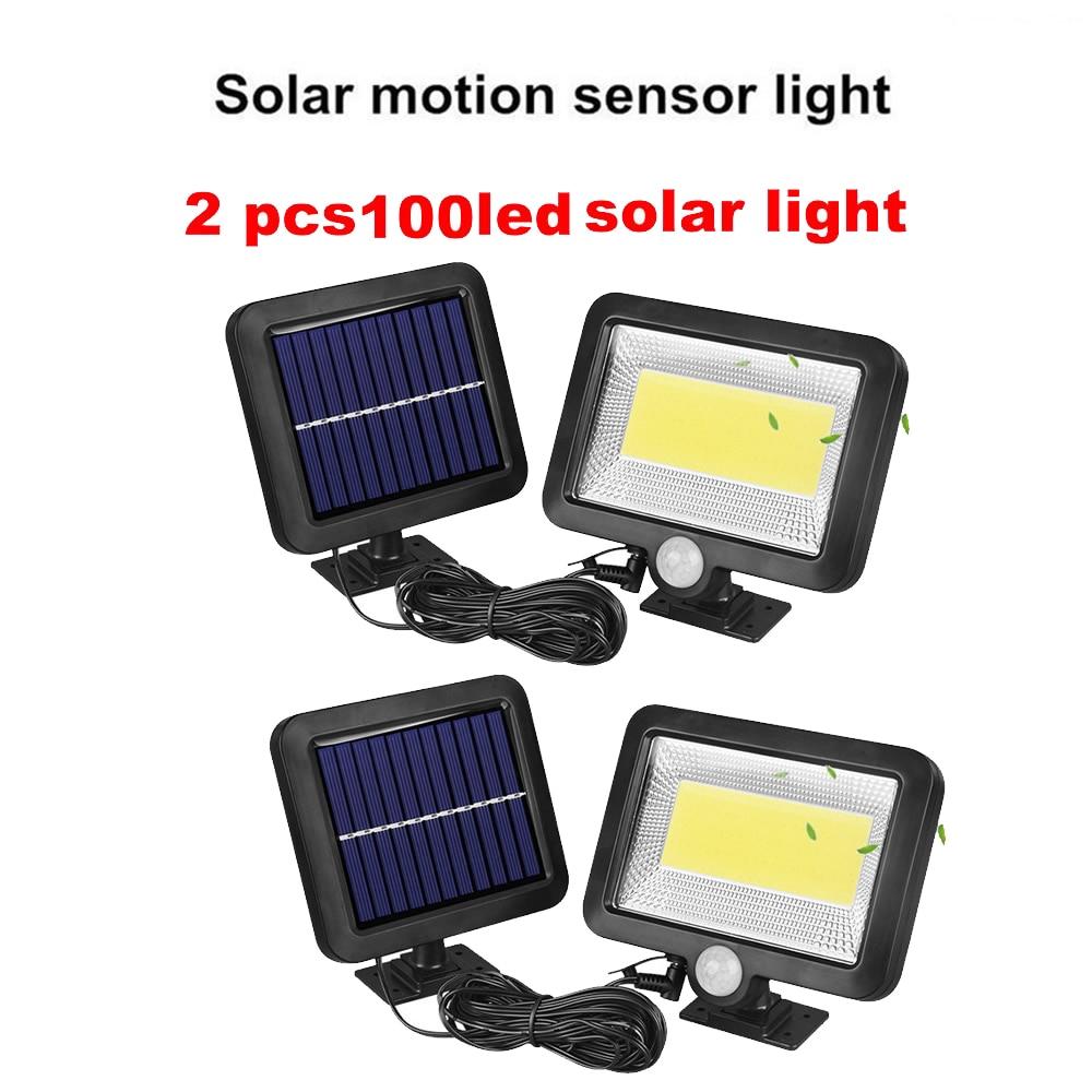 2/4pcs 100/56/30 LED Solar Wall Lamp Radar Wave Induction Lighting With 3 Working Modes Remote Control IP65 Waterproof Street Li