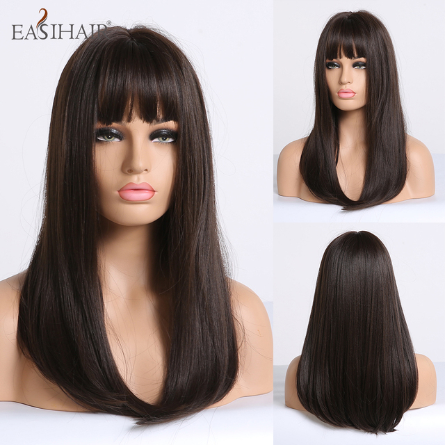 EASIHAIR Long Straight Synthetic Wig with Bangs Dark Brown Wigs for Women Nature Wigs High Temperature Fiber Hair Wigs