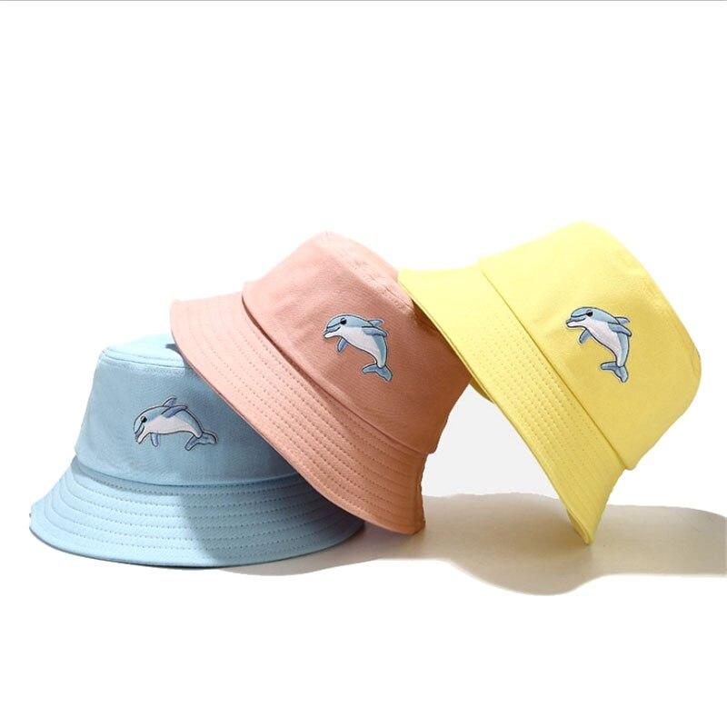 Панама с вышивкой в виде дельфина женская, модный аксессуар, шляпа рыбака, Пляжная шапка для улицы, складная Панама, Солнцезащитная шапка