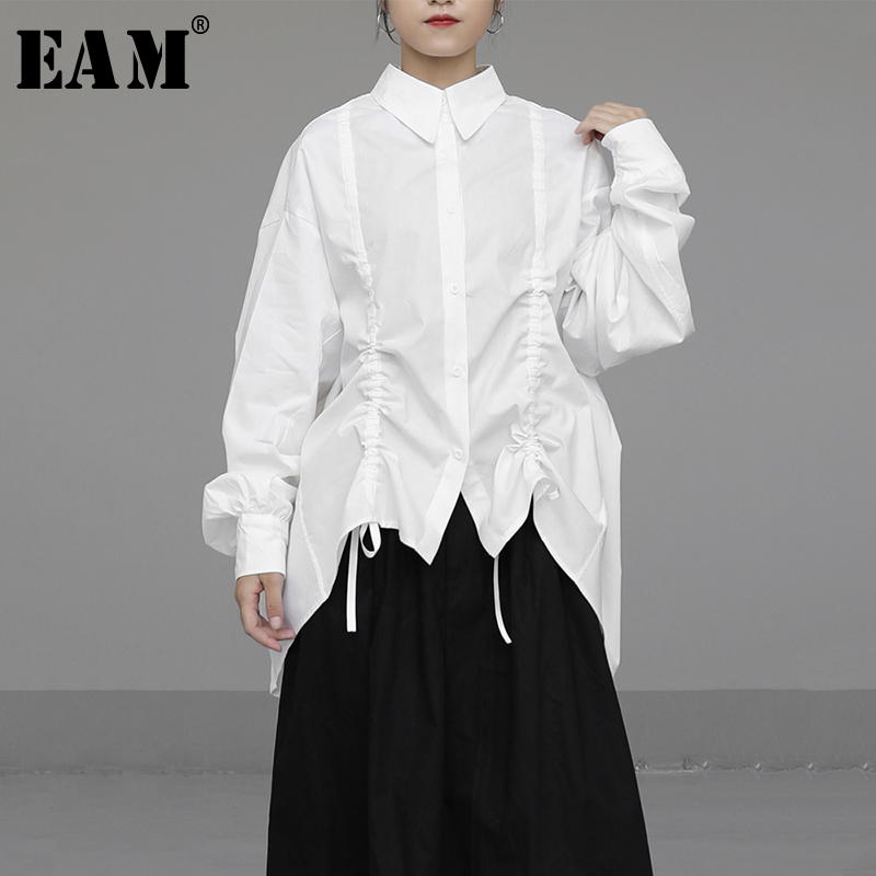 [EAM] Women Drawstring Asymmetrical Big Size Blouse New Lapel Long Sleeve Loose Fit Shirt Fashion Tide Spring Autumn 2020 1N571