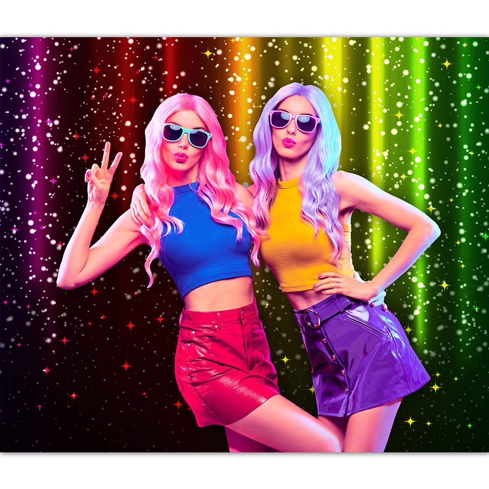 Let's Glow Party Photography Backdrop for Music Dance Disco Decor Rainbow Neon Background Photo Booth Banner image