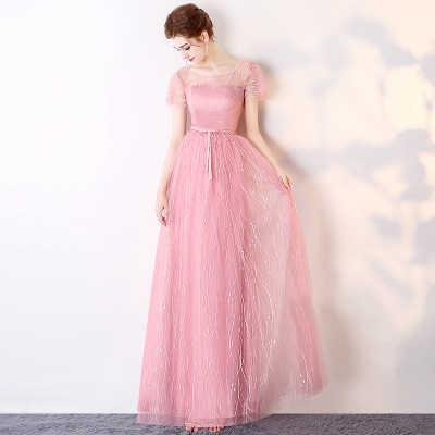 חדש שיפון ורוד שושבינה שמלות אלגנטי לנשף מסיבת חתונה נשים אורח סומק ורוד קו נפוח שמלות גאלה שמלות