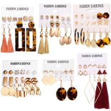 HOCOLE Geometric Tassel Drop Earrings Set For Women Bohemian Acrylic Resin Oversize Dangle Earring Statement Jewelry Wholesale