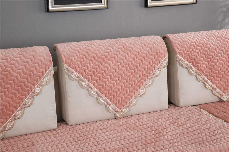 Thick Slip Resistant Couch Cover for Corner Sofa Made with Plush Fabric Including Lace for Living Room Decor 65