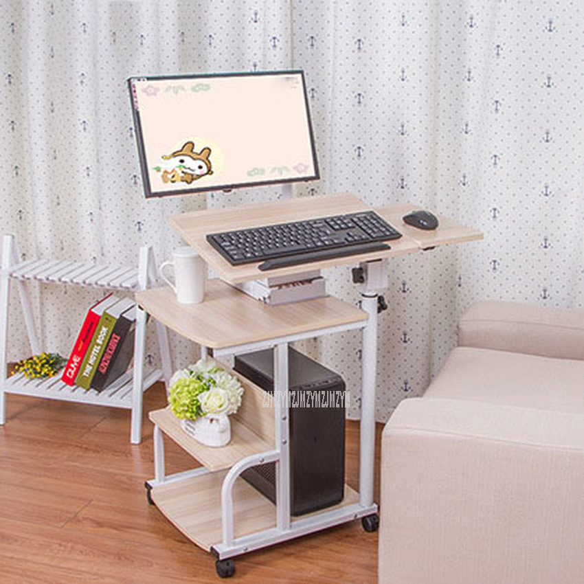 Large Size Desktop Computer Table Adjustable Movable Portable Laptop Desk Rotate Laptop Bed Table Can Be Lifted Standing Desk