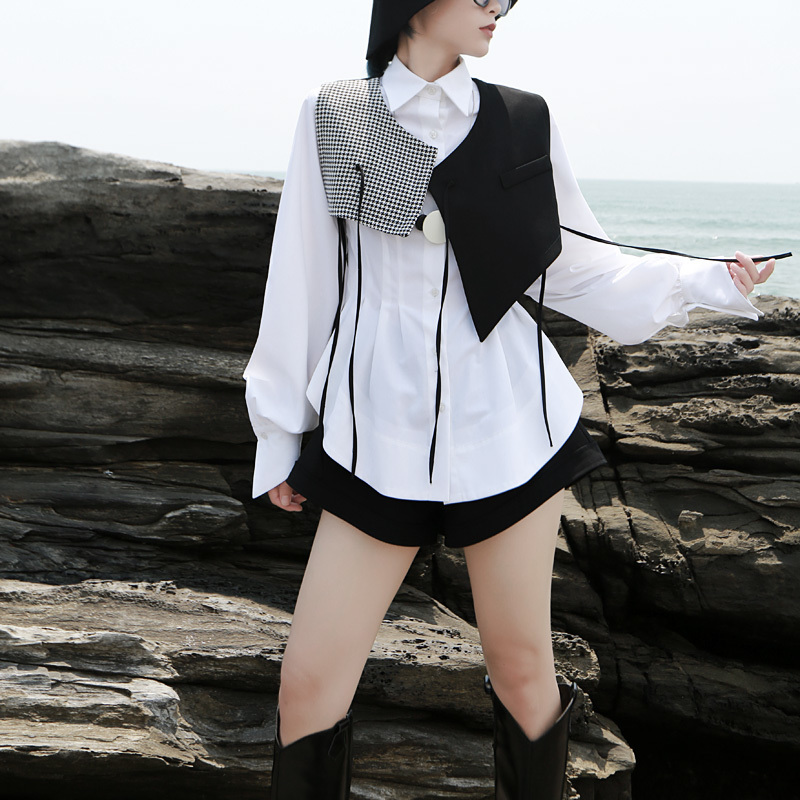 New Fashion Style Black Plaid Split Asymmetrical Loose Fit Vest New V-collar Sleeveless Fashion Tide Fashion Nova Clothing