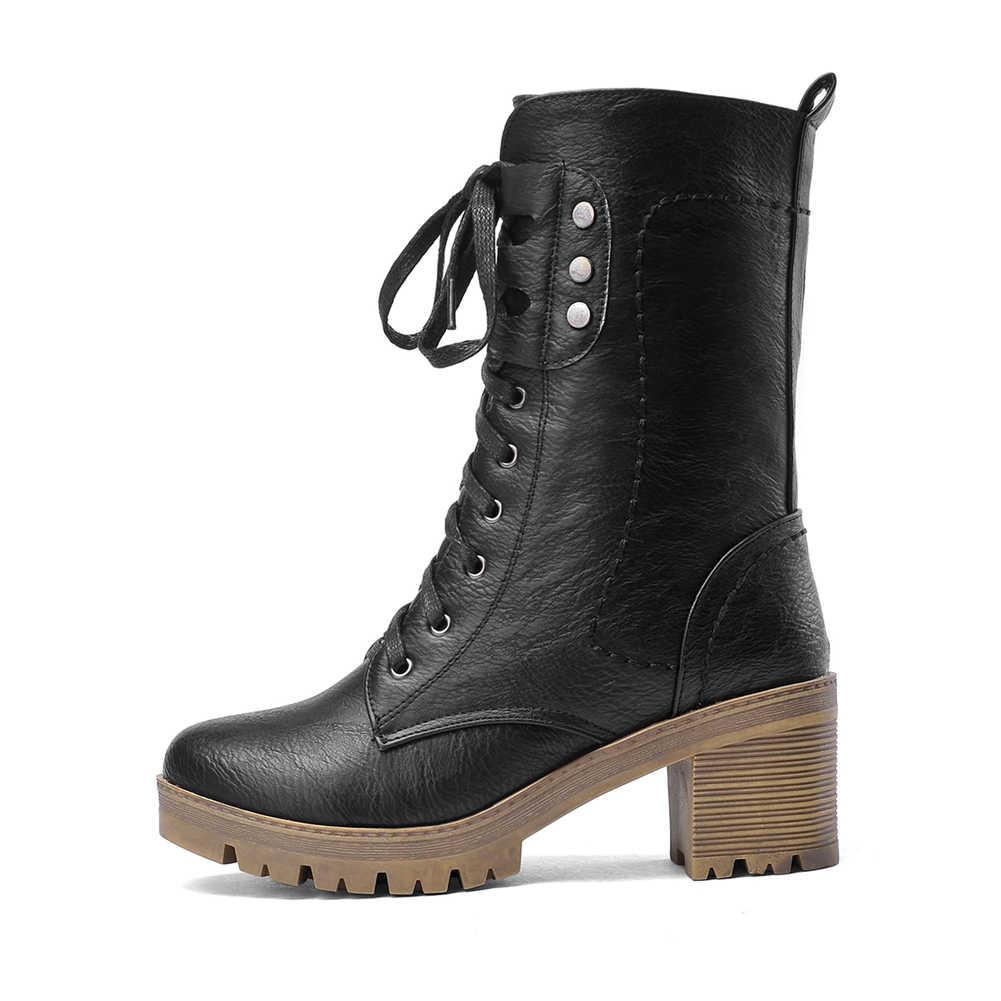 BONJOMARISA yeni 34-43 Retro Platform patik bayanlar dantel-up Vintage yarım çizmeler kadınlar 2020 yüksek tıknaz topuklu ayakkabılar kadın