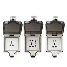 Wall Power Waterproof Socket IP66 Weatherproof Outdoor 86 Universal 16A Standard Electrical Outlet Grounded 110~250V USB Port