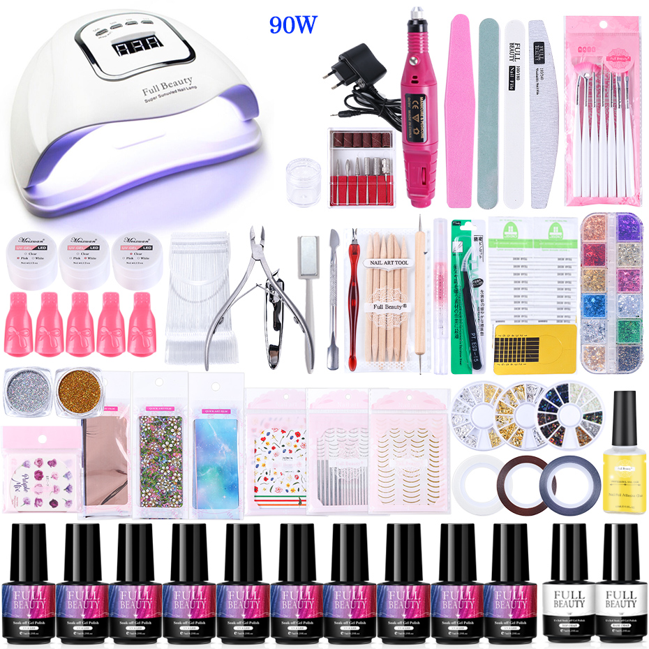 Super Nail Art Manicure Set With UV LED Lamp Nail Dryer Gel Polish Soak Off Electric Drill Machine Acrylic Nail Tools Kit #1582
