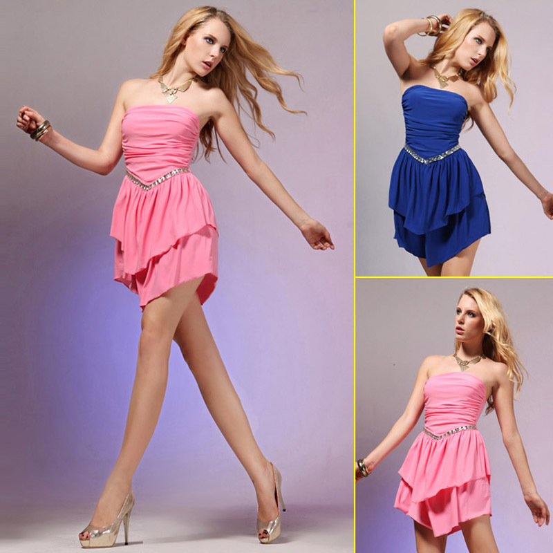 New Arrival Short Mini Pink/Blue Prom Dresses Party Gowns 2015 Spandex Strapless Women Dresses Crystals In Stock SD022