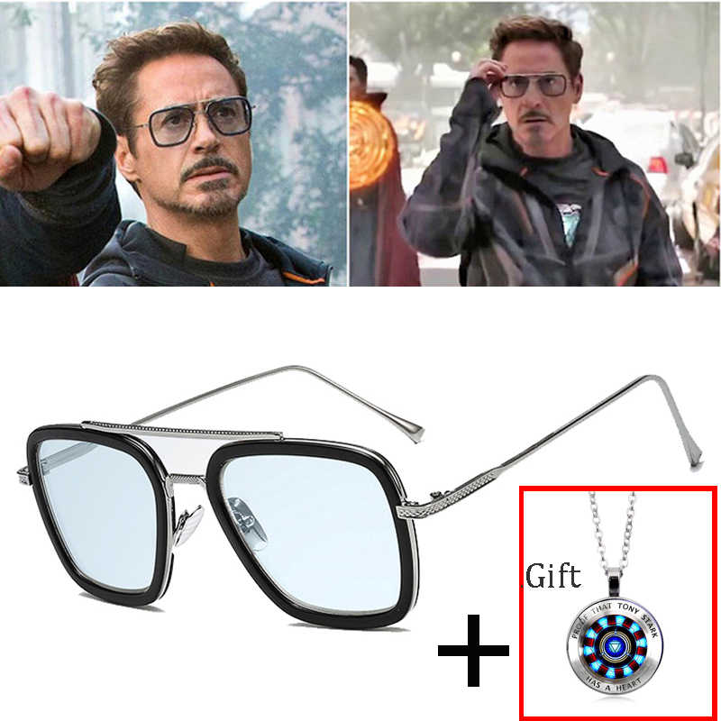 2019 Fashion Avengers Tony Stark Flight 006 Style Sunglasses Men Square Aviation Brand Design Sun Glasses Oculos De Sol UV400