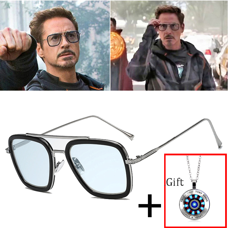 2019 Fashion Avengers Tony Stark Flight 006 Style Sunglasses Men Square Aviation Brand Design Sun Glasses Oculos De Sol UV400 image