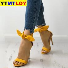 Newest Brand Designer Pink Yellow Suede High Heel Sandals Ankle Big Bowknot