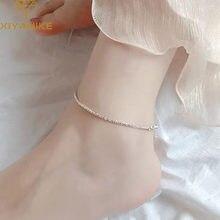 XIYANIKE – Bracelet de cheville en argent Sterling 925 pour femme, bijou scintillant, élégant et tendance, pour prévenir les allergies