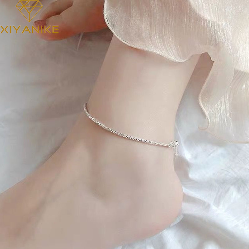 XIYANIKE 925 Sterling Silver Sparkling Single Anklet Bracelet for Women Trendy Elegant Summer Party Jewelry Prevent Allergy